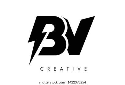 BV Letter Logo Design With Lighting Thunder Bolt. Electric Bolt Letter Logo Vector Illustration.