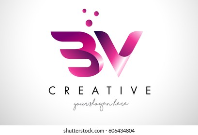 BV Letter Logo Design Template with Purple Colors and Dots
