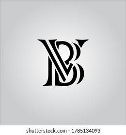 BV letter logo with nice white background.The nice black letter logo.