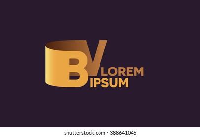 BV letters logo, B and V letters logo alphabet design.
