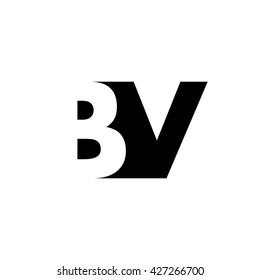 BV Logo. Vector Graphic Branding Letter Element. White Background