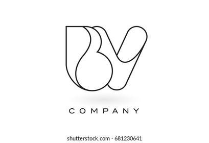 BV Monogram Letter Logo With Thin Black Monogram Outline Contour. Modern Trendy Letter Design Vector Illustration.