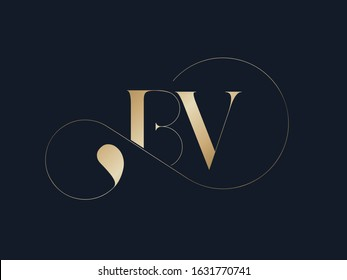 BV monogram logo.Elegant style typographic icon.Lettering sign.Alphabet initials in gold metal color isolated on dark background.Uppercase luxury letter b and letter v.Beauty characters with swirl.