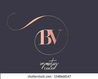 BV monogram logo.Typographic icon with metallic pink letter b and letter v.Uppercase lettering sign with decorative swirl.Alphabet initials isolated on dark fund.Modern,luxury,beauty,boutique style.