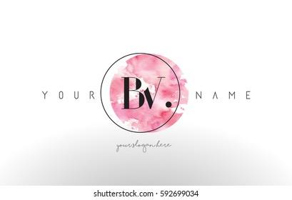 BV Watercolor Letter Logo Design with Circular Pink Brush Stroke.