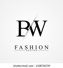 BW B W cutting and linked letter logo icon with paper cut in the middle. Creative monogram logo design. Fashion icon design template.