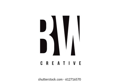 BW B W White Letter Logo Design with Black Square Vector Illustration Template.