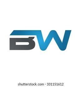 BW company linked letter logo blue