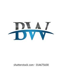 BW initial company blue swoosh logo
