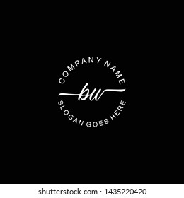 BW Initial handwriting logo template vector
