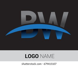 BW initial logo company name colored grey and blue swoosh design.