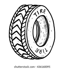 BW old tire / cartoon vector and illustration, black and white, hand drawn, sketch style, isolated on white background.