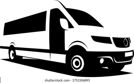 B&W vector illustration of a shuttle bus built from a modern van used to transport passengers from airports to city centers, conference venues