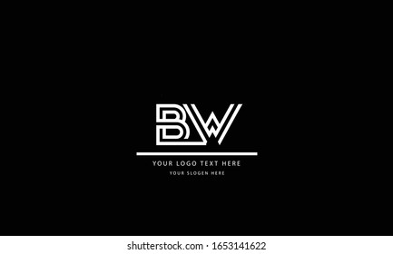 BW WB abstract vector logo monogram template