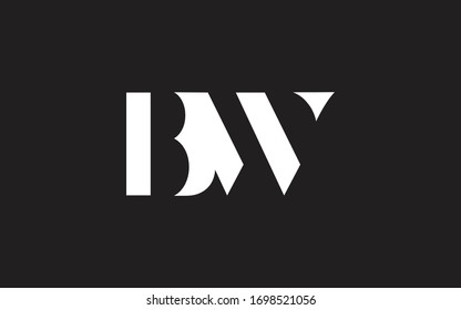 BW or WB and B or W Letter Initial Logo Design, Vector Template
