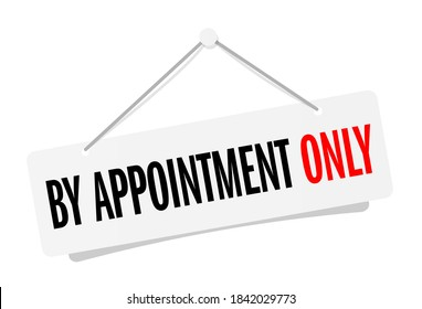 By appointment only on door sign hanging