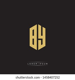 BY B Y Logo Emblem Capital Letter Modern Template EPS 10 With Black Background