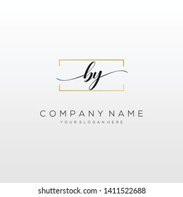 BY handwriting initial logo template vector.