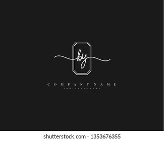 BY initial handwriting logo template vector