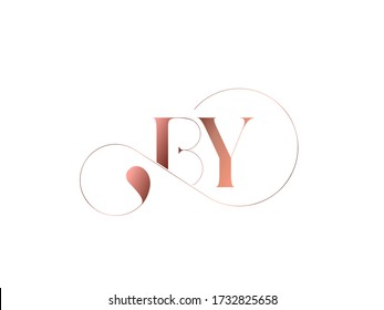 BY monogram logo.Typographic icon with serif letter b and letter y. Lettering icon. Alphabet initials isolated on light background.Signature style elegant sign luxury characters and decorative swirl.
