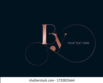 BY monogram logo.Typographic icon with serif letter b and letter y. Lettering icon. Alphabet initials isolated on dark background.Signature style elegant sign luxury characters and decorative swirl.