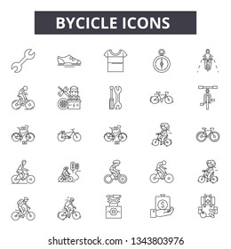 Bycicle line icons for web and mobile design. Editable stroke signs. Bycicle  outline concept illustrations