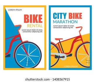 Bycicle Rental. City Bike Marathon Vector Banner Set. Physical Activity, Healthy Leisure, Urban Travel, Tourism. Eco Transportation. Cycling Race Competition. Bike Rent Service Mobile Application