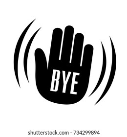 Bye waving hand palm logo icon. Simple sign of forgiving bye waving hand palm vector illustration for print or web design.