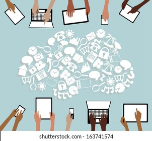 BYOD Bring your own Device Tablets Icon Cloud and Hands grouped and layered