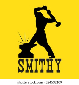 Byuschy blacksmith on the anvil with a hammer. On yellow background.