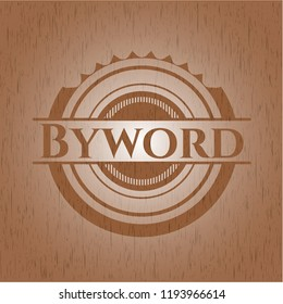 Byword badge with wooden background