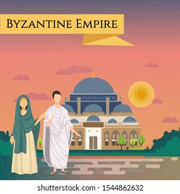 """Byzantine citizens are dressed in national costumes. The sights of Constantinople (Temple of St. Sophia) are located behind them. The inscription """"Byzantine Empire""""  is located in the banner."""