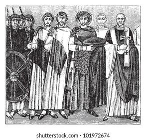 Byzantine emperor Justinian I and archbishop Maximianus of Constantinople / vintage illustration from Brockhaus Konversations-Lexikon 1908