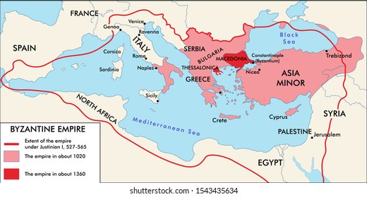 The Byzantine Empire historical map. Ready to print vector art.