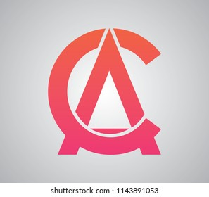 A and C, C and A, AC, CA letters unique creative and stylish with cuts in gradient color with light background flat alphabet typography abstract icon for logo