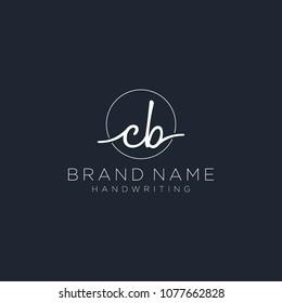C B Initial handwriting logo template
