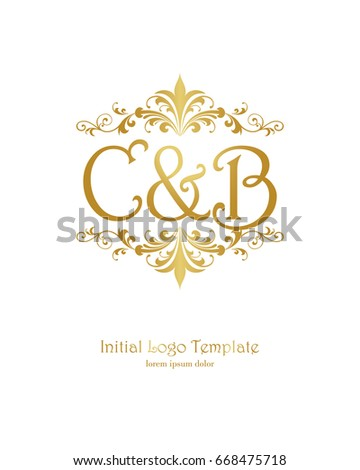 c b initial wedding logo template stock vector royalty free