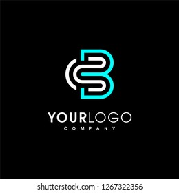 C B Logo. Letter CB vector line logo design. Creative minimalism logotype icon symbol. - Vector