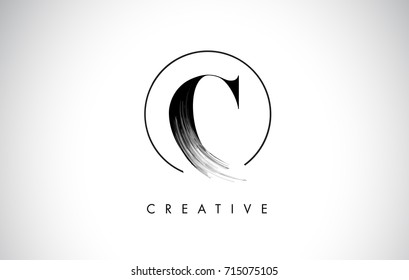C Brush Stroke Letter Logo Design. Black Paint Logo Leters Icon with Elegant Circle Vector Design.