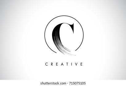 C Brush Stroke Letter Logo Design. Black Paint Logo Leters Icon with Elegant Circle Vector Design.