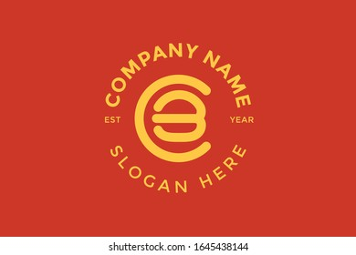 C burger shape a logo design, template