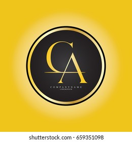 C & A or CA Letter Logo Design Company with Circle Shape . Logo Template Design Vector