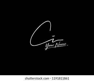 C I CI Signature initial logo template vector