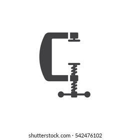C clamp icon vector, filled flat sign, solid pictogram isolated on white. Compress symbol, logo illustration