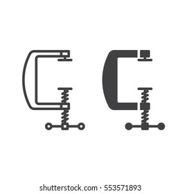 C clamp line icon, outline and filled vector sign, linear and full pictogram isolated on white. Compress symbol, logo illustration