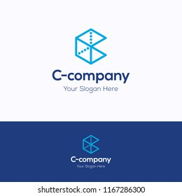 C company logo. 3D cube logo template. Hexagon logotype with letter c