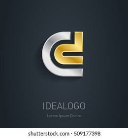 C and D initial, silver and gold logo. Metallic 3d icon or logotype template. Vector design element.