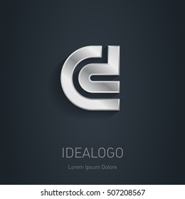 C and D initial silver logo. Metallic 3d icon or logotype template. Vector design element.