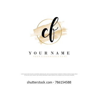 C F Initial water color logo template vector