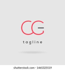 C G Double letter logo design vector template